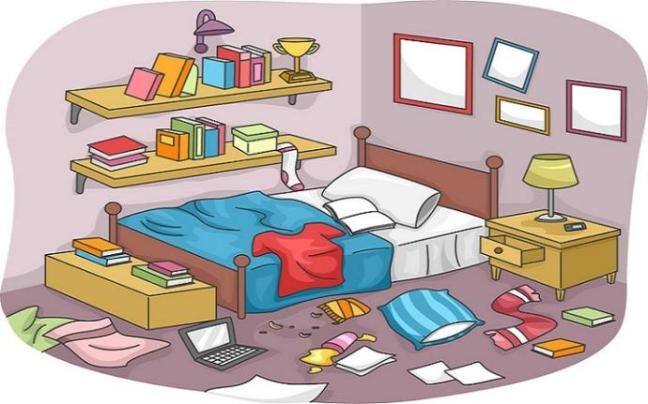 35416204 - illustration of a disorganized room littered with pieces of trash